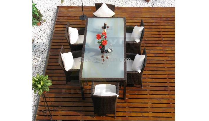 Mesa de exterior de comedor ratt n y cristal 160x90 - Muebles para terraza exterior ...