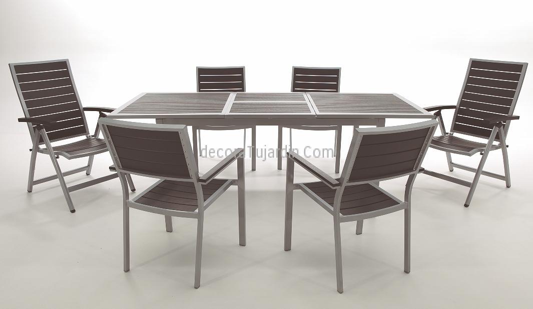 Mesa jard n extensible aluminio con lamas resina sint tica for Mesas y sillas para exterior