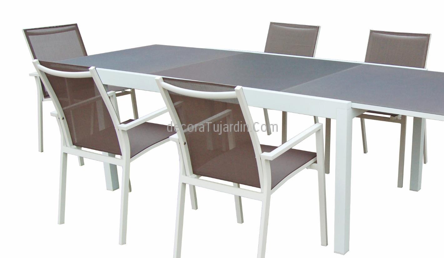 Mesa extensible blanca al1t3178w for Comedor para jardin