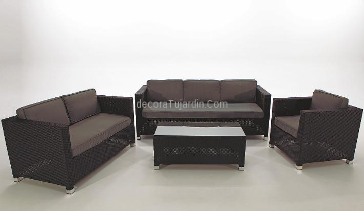 Muebles de jard n de sal n sof s de exterior negro gris for Muebles de jardin exterior