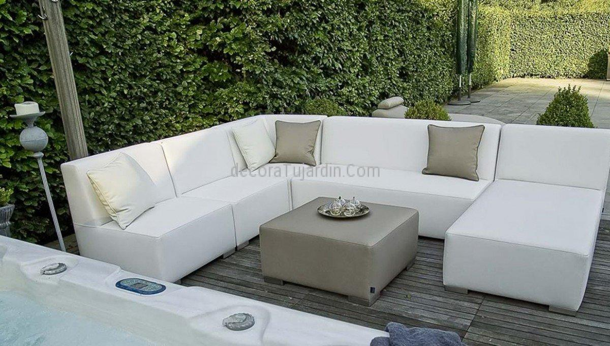 Muebles de jard n tapiceria n utica simple line for Sofa exterior aluminio blanco